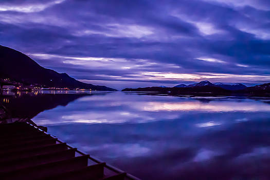 Purple sunrise in Alaska. by Timothy Latta
