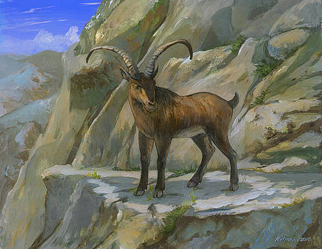 Pyrennean Ibex by ACE Coinage painting by Michael Rothman