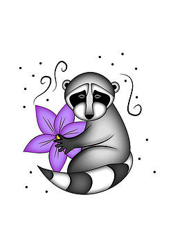 Jeanette K - Raccoon with Clementine Flower