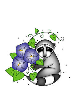 Jeanette K - Raccoon with Morning Glories