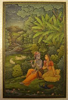 Radha Krishna by Om Sharma