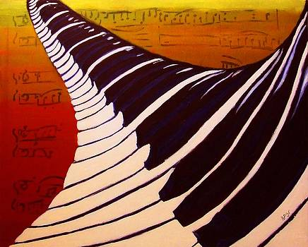 Rainbow Piano Keyboard Twist in Acrylic Paint with Sheet Music Notes in Blue Yellow Orange Red by M Zimmerman MendyZ