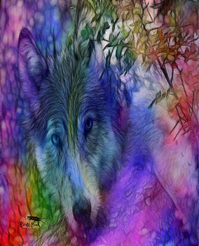 Rainbow Wolf by Raven Hawk