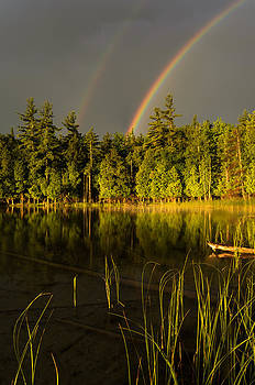 Rainbows over Otter Lake by Thomas Pettengill