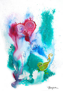 Raining Hearts Birdy by Shelley Overton