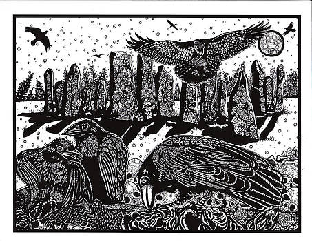 Ravens at Standing Stones by Judy Moon