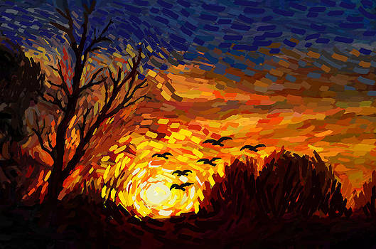 Ravens at Sunset by Laird Roberts