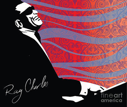 Sassan Filsoof - Ray Charles jazz digital illustration print poster