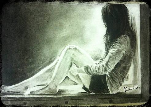 Realistic Charcoal painting of a Lonely Girl by Kaushik Varma
