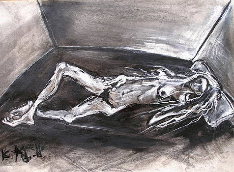 Reclining Elognated Nude Woman by Kenneth Agnello