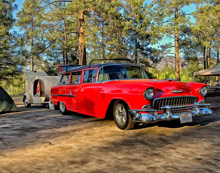 Red '55 Chevy Wagon by Michael Pickett