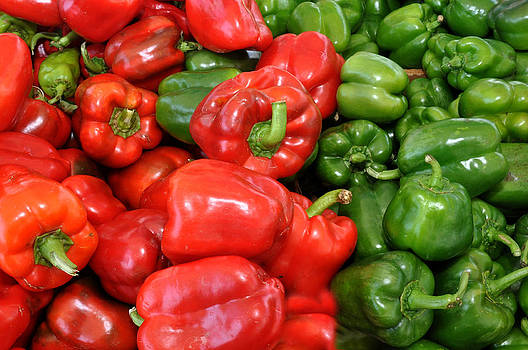 Red and Green  Peppers Union Square Farmers Market by Diane Lent
