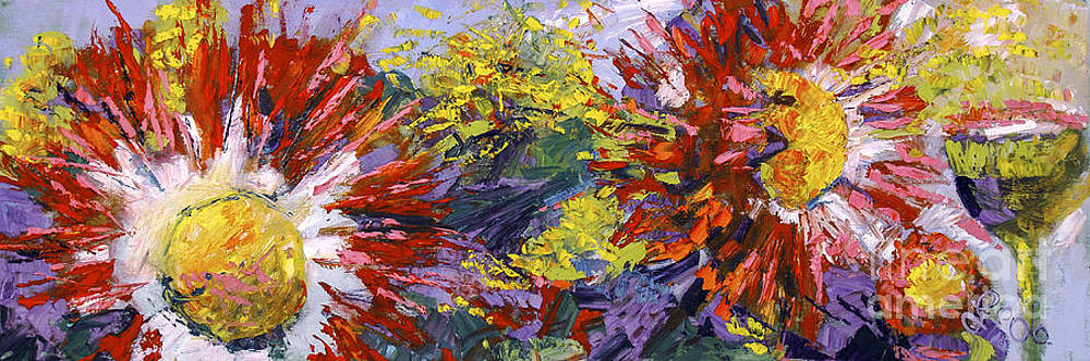 Ginette Fine Art LLC Ginette Callaway - Red Asters Modern Impressionist Flower Painting