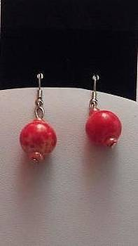 Red Ball Earrings by Kimberly Johnson