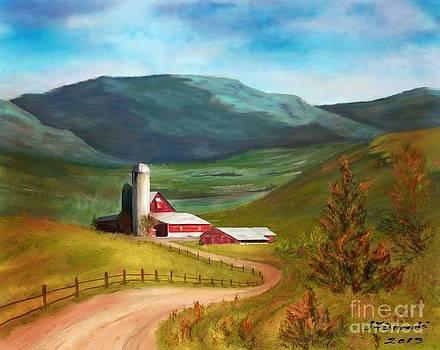 Red Barn Hillside Farm by Judy Filarecki