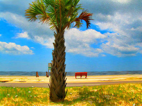 Red Bench On The Beach by Bruce Nutting