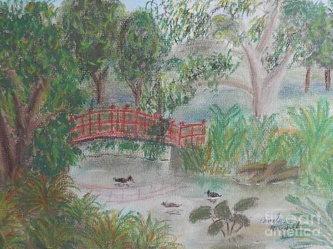 Red Bridge at Wollongong Botanical Gardens by Pamela  Meredith