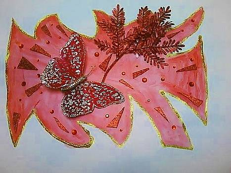 Red Butterfly Abstract by Karen Jensen