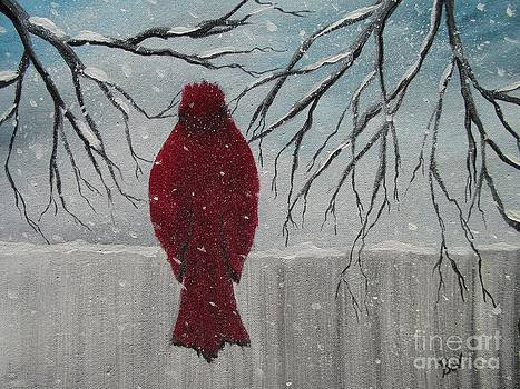 Red- Cardinal-fence by Beverly Livingstone