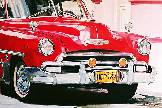 Red Chevrolet in Havana by Jorge Pinto