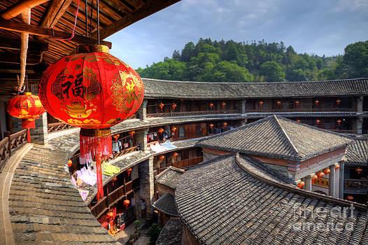 Fototrav Print - Red Chinese lantern in a Hakka Tulou  Fujian