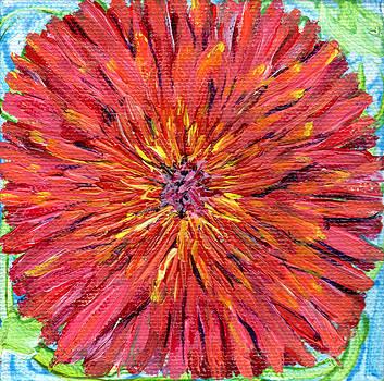 Regina Valluzzi - Red dahlia miniature 4 by 4 inch painting