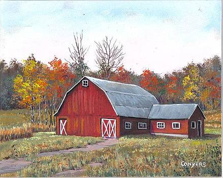 Red Dairy Barn by Peggy Conyers