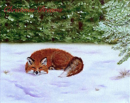 Red Fox Christmas Dreams Card by Dr Pat Gehr