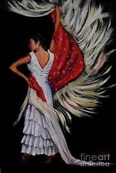 Red Fringed Scarf by Nancy Bradley