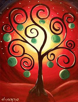 Red Funky Tree by Dyanne Parker