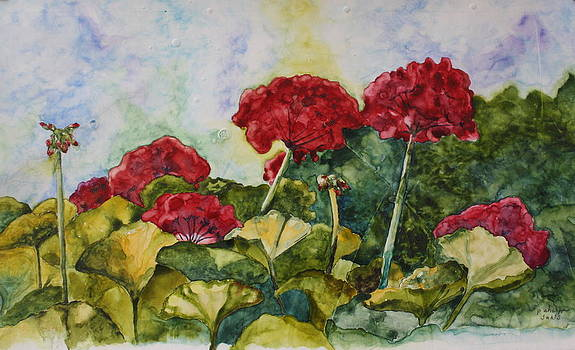 Red Geraniums by Patsy Sharpe