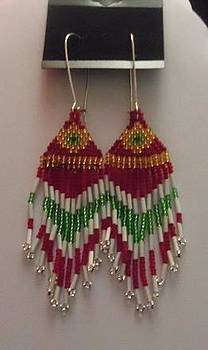 Red Gold Green and White Handwoven Tassel Earrings by Kimberly Johnson