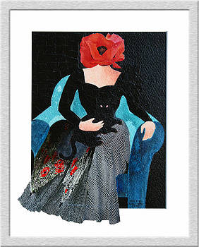 Red Head with Black Cat by Eve Riser Roberts