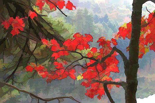 Red Leaves - Mountain Pond  by James Bullard