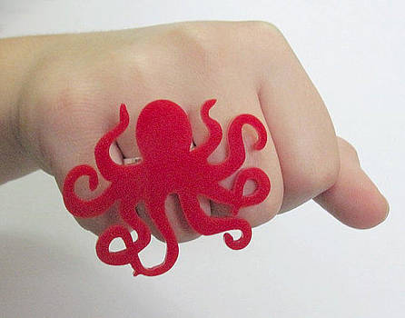 Red Octopus Ring by Rony Bank