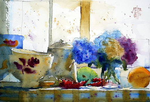 Red peppers and hydrangea by Andre MEHU