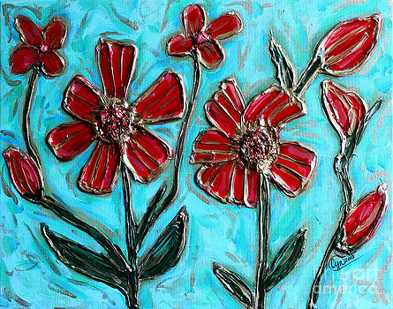 Red Pinwheel Flowers by Cynthia Snyder