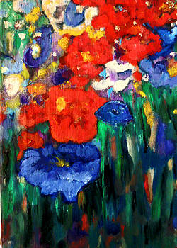 Red Poppies and a Blue One by  Tolere