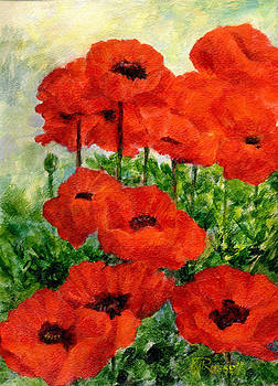 K Joann Russell - Red  Poppies in Shade Colorful Flowers Garden Art
