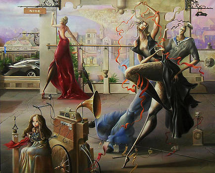 Red ribbons of evening's news.Oh...Damn Nizza. by Oleg  Osipoff