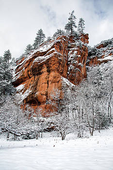 Red Rock and Snow by Larry Pollock