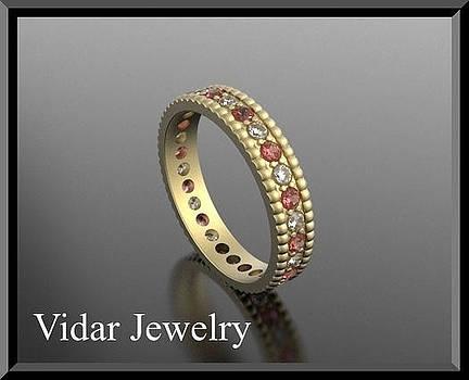 Red Ruby And Diamond 14k Yellow Gold Woman Wedding Ring by Roi Avidar