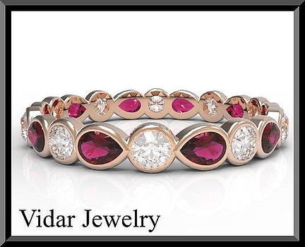 Red Ruby And White Sapphire 14k Rose Gold Woman Wedding Ring by Roi Avidar