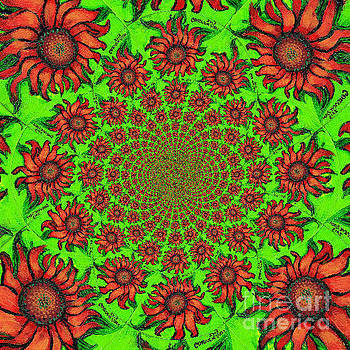 Genevieve Esson - Red Sunflower Kaleidoscope Mandela