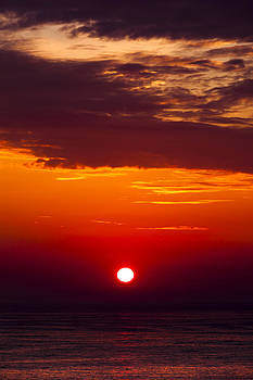 Red Sunset Over The English Channel by Alex Galiano