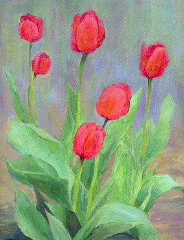 K Joann Russell - Red Tulips Colorful Painting of Flowers by K. Joann Russell