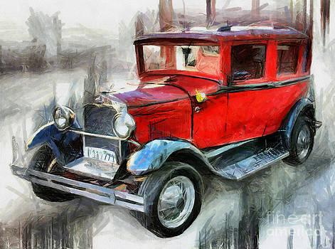Red Vintage Car - Drawing by Daliana Pacuraru