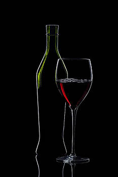 Alex Sukonkin - Red Wine Bottle And Wineglass Silhouette