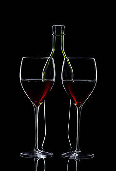 Alex Sukonkin - Red Wine Bottle And Wineglasses Silhouette