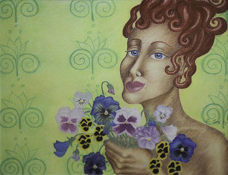 Redhead Holding Pansies by Claudia Cox